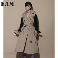 EAM 2017 New Autumn Lapel Long Sleeve Solid Color Two Ways Wearing Loose Big Size
