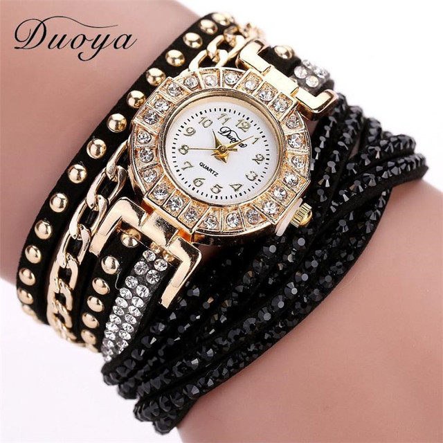 Top Brand Fashion Luxury Rhinestone Dial Leather Bracelet Watch Women Ladies Qua