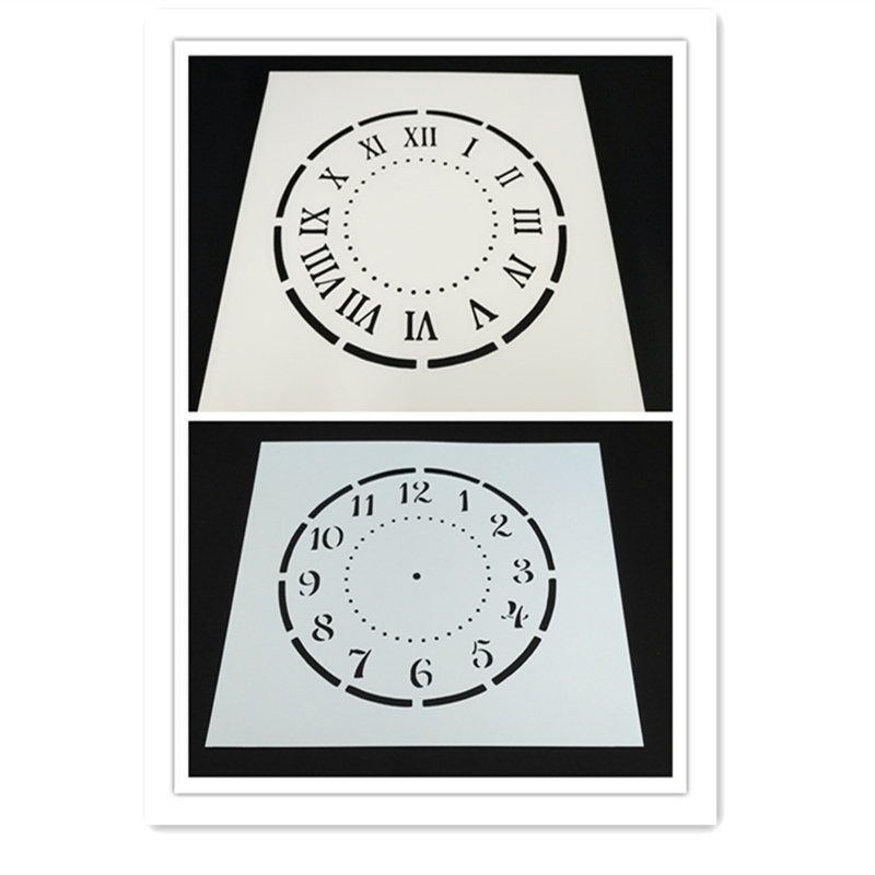 Roman Clock Number Clock Stencils For Chalk ,Acrylic Painting,Scrapbook, For Diy Decor, Craft Projects, Set Of 2pcs