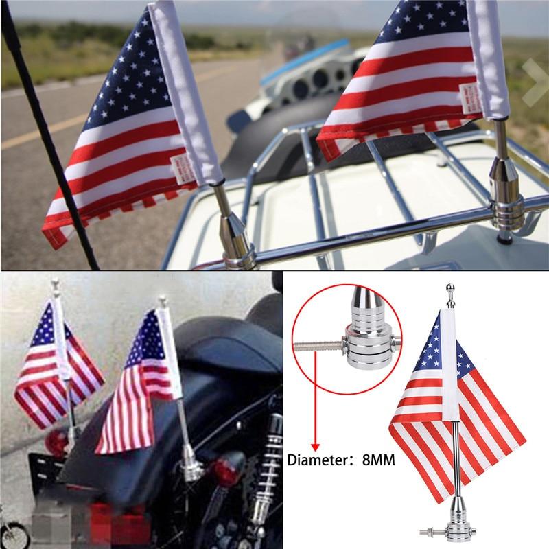 WISENGEAR Chrome Vertical Flag Pole Mount American USA Flag Holder For Harley Touring Sportster 1200 Honda Goldwing CB VTX CBR Luggage Rack (2)
