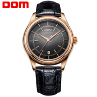 DOM Mens Watches Top Brand Luxury Waterproof Quartz Leather XcBusiness Gold Mengold Men Watch M518
