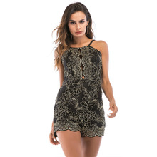 MUXU summer sexy suspenders short jumpsuit black patchwork lace embroidery gold backless womens rompers ladies