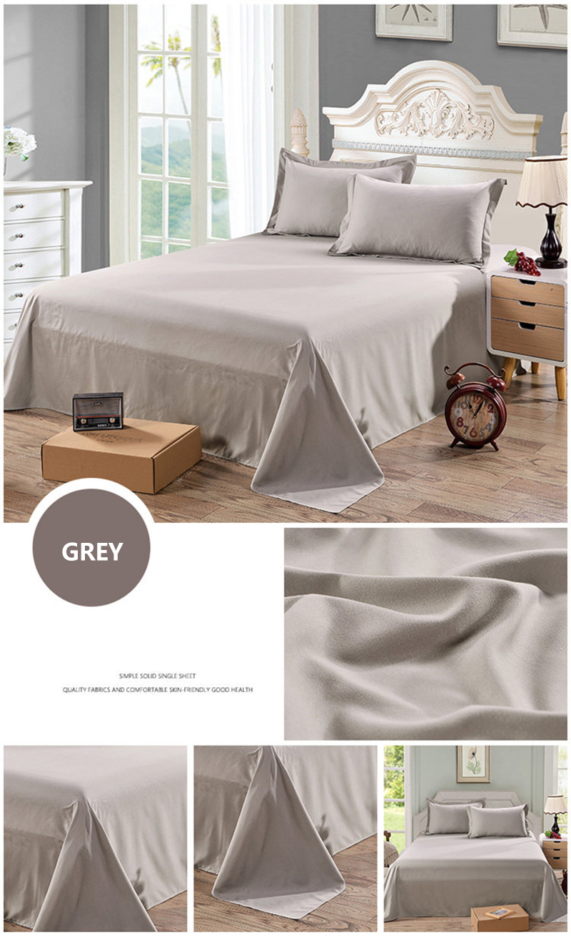 Double Bed Fitted Sheet 1pcs Solid Colour Double Ded Flat Fitted Sheet Colourful Polyesterbedding Set Brief Bed Linens Flat Sheet Twin King Size