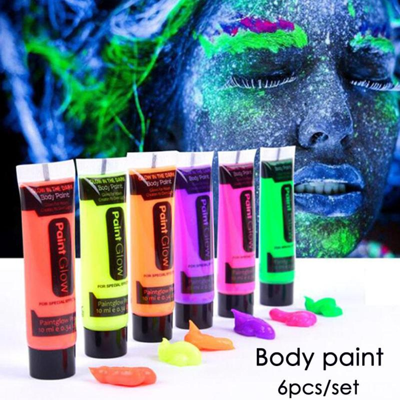 6pcs Fluorescent Body Paint Set Glow In The Dark Face Painting UV Luminous Flash Tattoo Face Body Painted Oil Painting Art W3 pretty girl in the lavender field oil painting