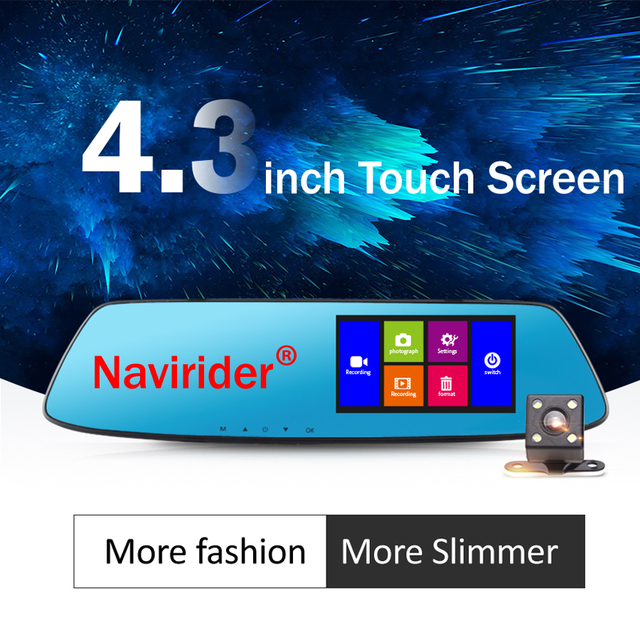 Navirider car rearview mirror 1080P HD multi-language double-lens wide-angle recording DVR camera auto cam 4.3inch touch screen