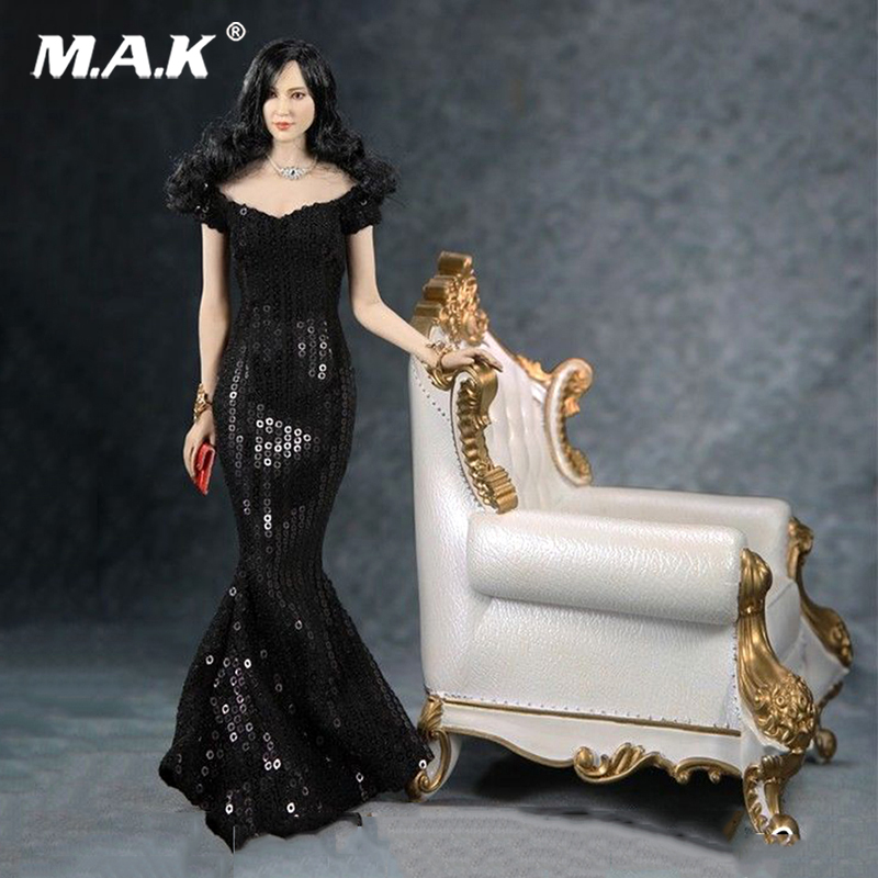 1/6 Feeltoys FT008 Black Fishtail Evening Maxi Dress with Handbag For 12 Female PH Doll Action Figure Body Accessories