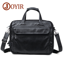 "JOYIR Cow Genuine Leather Briefcases 15"" Laptop Handbag Document Case Men's Business Crossbody Bag Tote Messenger Shoulder Bags"
