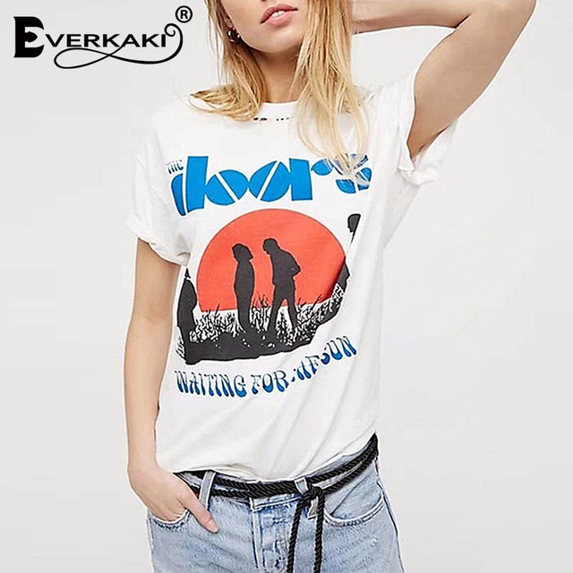 204e2c04a8a Everkaki Women Boho Vintage The Doors Print T-Shirt Tops Cotton O Neck  White Bohemian