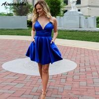 Spaghetti Strap Royal Blue Homecoming Dresses 2019 Backless Sexy vestidos de graduacion V Neck Satin Cocktail Dress