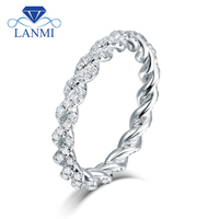 Simple Wedding Jewelry Design Solid 14K White Gold Diamond Promised Ring for Women Loving Gift