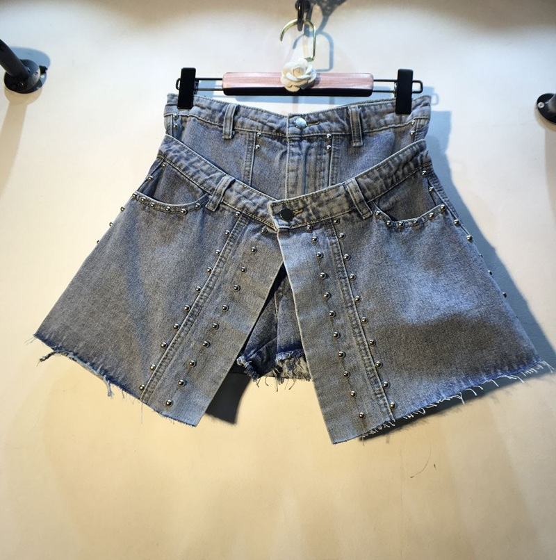 Summer Skirt Style Shorts Women 2019 New Studded Pearl Beading High Waist Slim Fake Twopiece Broad-leggeds Denim Jeans Shorts