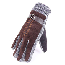 2017 Direct Selling Solid Eldiven New Men Gloves Thick Warm Winter Pigskin Leather Windproof And Comfortable Cuffs Z05