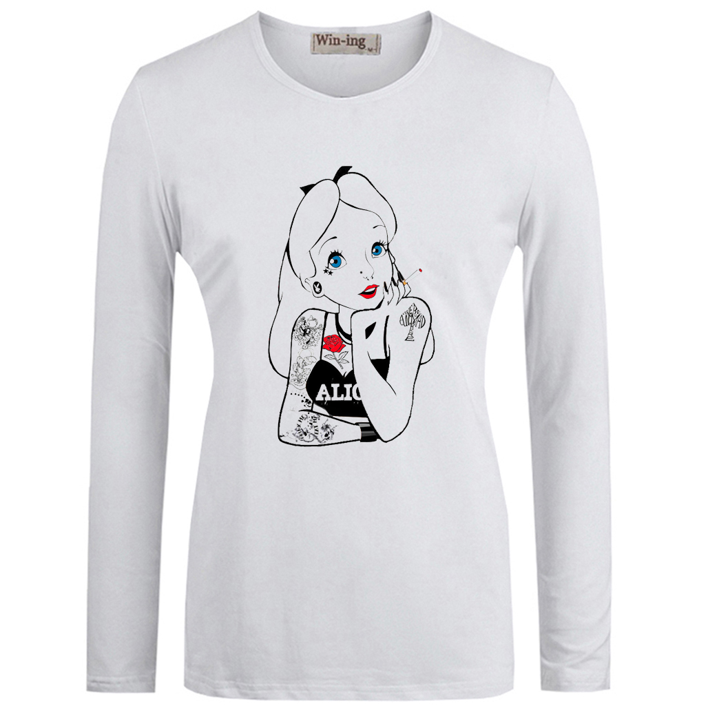 882272f4 Vêtements Alice in Wonderland Punk Tattoo Novelty Forest White Women T  Shirt Top Fantaisie
