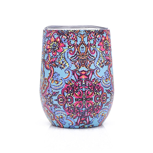 Colorful Patterned Stainless Steel Wine Glass