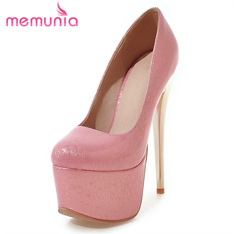 MEMUNIA 2017 New shoes women pumps wedding party solid single shoes high heels 16cm big size 34-48 shallow elegant memunia platform shoes shallow solid round toe high heels shoes big size 33 44 party shoes soft leather hot sale contracted