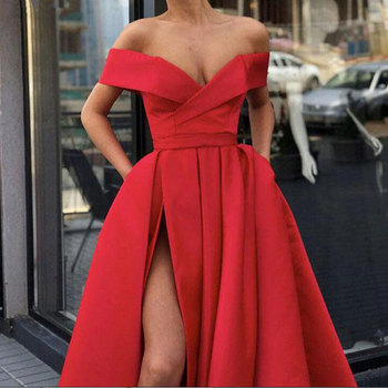 New arrival evening Dresse Formal vestido noiva sereia prom party robe de soiree red gown luxury frock sexy side slit pockets 2