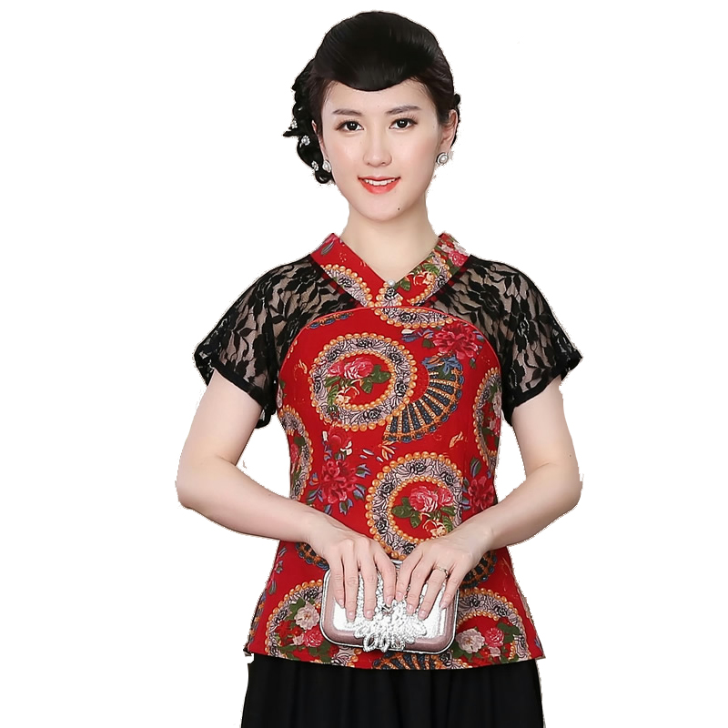 Special Offer <font><b>4XL</b></font> Summer New Traditional Chinese Blouse Blusa Women Cotton Linen Shirt Short Sleeves Tops <font><b>Mujer</b></font> <font><b>Camisa</b></font> HB052301 image