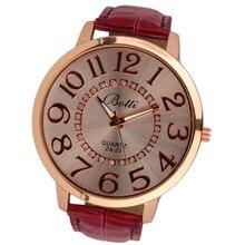 Important Sizzling relogio feminino Clock Womens Trend Numerals Golden Dial Leather-based Analog Quartz Watch feb17