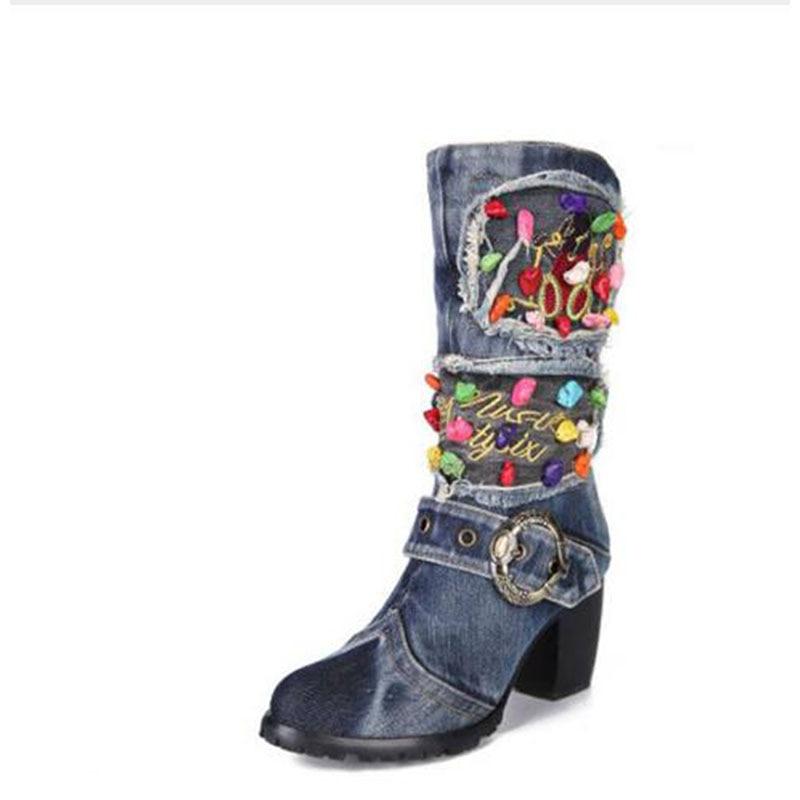 KNCOKAR/2018 г. Новая парусиновая обувь высокие сапоги на высоком каблуке с боковой молнией джинсовые Ботинки martin на толстой подошве с нескользящ... - 2