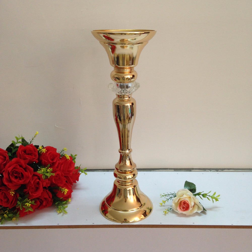 New style 48cm 189 gold wedding flower vase wedding table new style 48cm 189 gold wedding flower vase wedding table centerpiece table stand wedding decoration supply 10 pcslot in vases from home garden on reviewsmspy