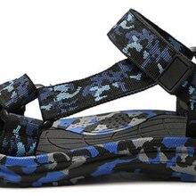 Летние модные мужские камуфляжные повседневные парусиновые сандалии на липучке; уличная пляжная обувь для отдыха; уличная прогулочная обувь; D391