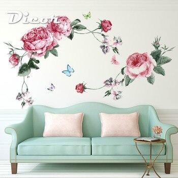 DICOR Çiçek Duvar çıkartma Ev Mağaza Dekor DIY Çıkarılabilir Sanat Vinil Duvar Oturma Odası Kanepe TV Arka Plan Yatak Odası QT625