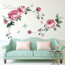 Floral Wall Decal Sticker Home/Store Decor DIY Removable Art Vinyl Mural For Living Room/Sofa TV Background/Bedroom QTB625 цена