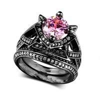 Pink ZIRCON Anillos para las mujeres vintage moda negro anillo de oro