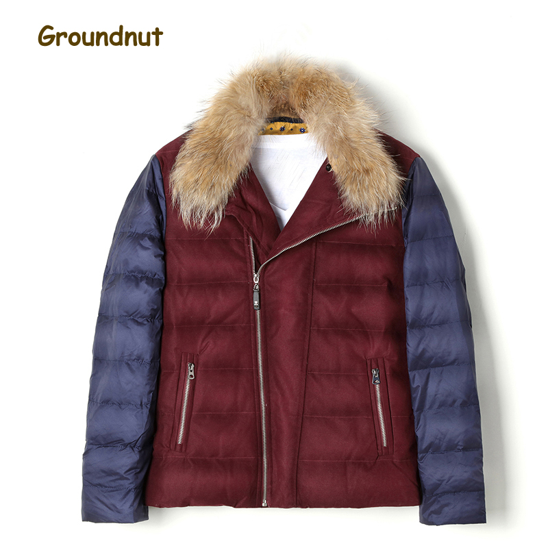 Groundnut 2017 New Natural Raccoon Fur Collar Men's Duck   Down     Coat   Outerwear Men Block Color Thickening Warm Winter   Down   Jackets