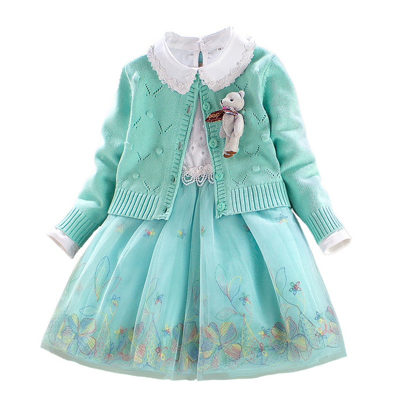 Children Sets Girls Winter Sweater Coat Kids Cotton Embroidered Dress with Cartoon Doll Decoration Princess Suit 2pcs for 4y-8y cartoon embroidered sweater