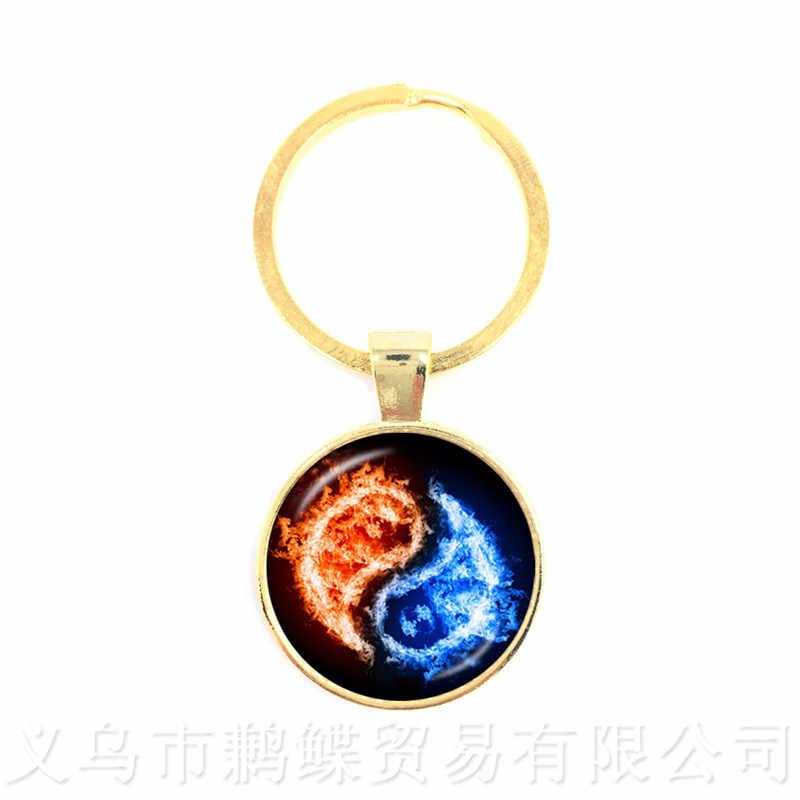 Preto e Branco Yin Yang Símbolo Jóias Cúpula De Vidro Chaveiros Budismo Taoísmo Yin-Yang Harmonia Espiritual Chaveiro