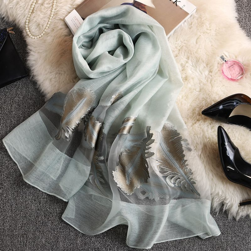 Fashion Beach Sunscreen   Scarves     Wraps   Women's Long Embroidery Shawl Spring Autumn High-quality Organza Lady Elegant Hijab   Wraps