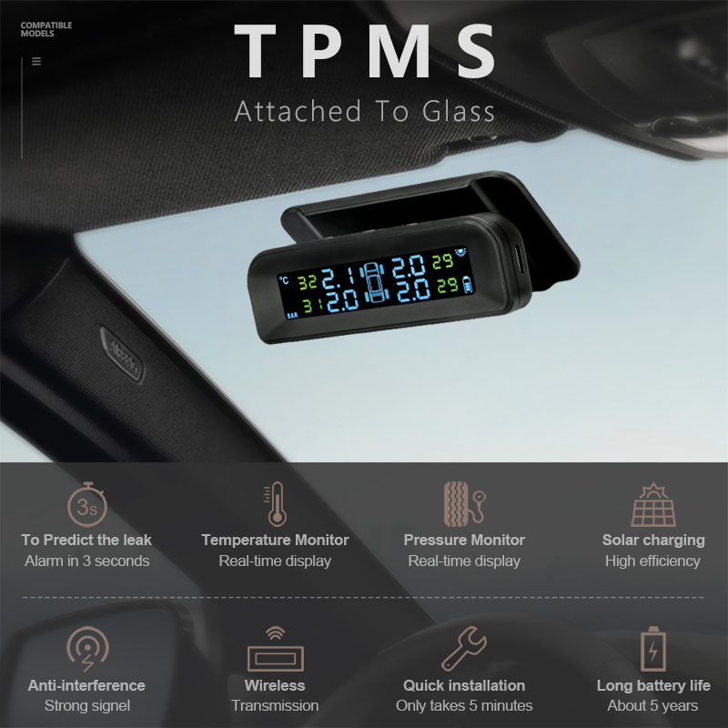 Image 3 - Jansite TPMS Car Tire Pressure Alarm Monitor System Real time Display Attached to glass wireless Solar power tpms with 4 sensors-in Tire Pressure Alarm from Automobiles & Motorcycles