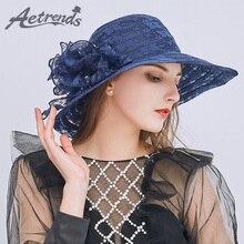 [AETRENDS] 2018 Новый Vintage Цветочные кружева чистой пряжи Солнцезащитные шапки для женщин Летний широкий Brim Складные Открытый Путешествия Beach Caps Z-6474