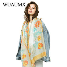 Wuaumx NEW Scarf Women Spring Print Hijab Long Scarves Cotton Muffler Thin Shawl And Wrap sjaal foulard femme 180*90cm