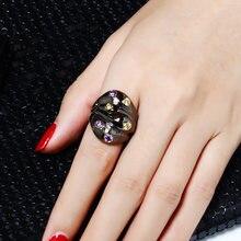 Женское кольцо на палец черное с кристаллами