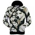 S-XXL Harajuku style 3d printed jackets wolf with moon galaxy black hoodies men/women 3D sweatshirts casual hoody coat