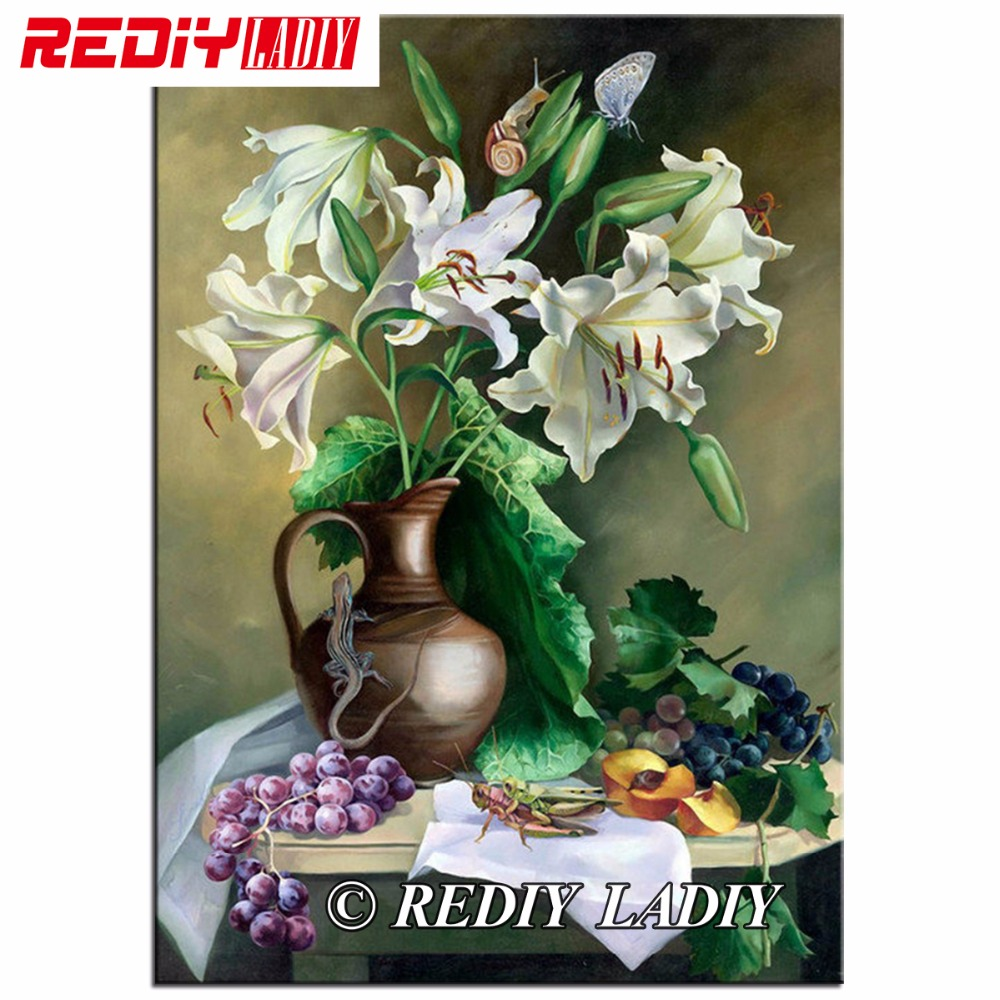 REDIY LADIY Diamond Painting Lily with Grapes Needlework Full Square Diamond Mosaic Embroidery Still Life Home Decoration Crafts