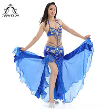 7d54665ee5 TOPMELON Performance Clothes Belly Dancing 3 Pieces 34 C Bra   Belt   Skirt  Set Sexy Push Up Beading Sequins Belly Dance Custome