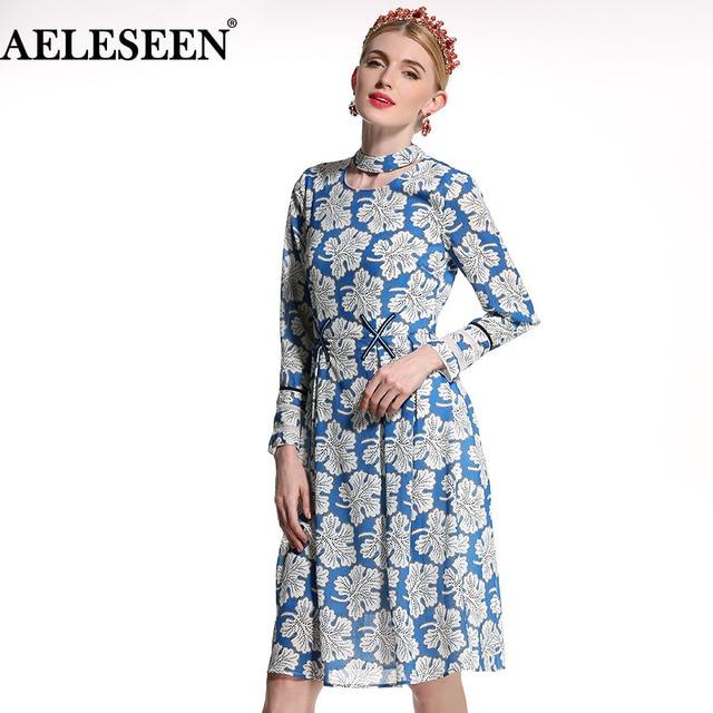 d09ad687c2 US $79.0 |Runway Female Work Dresses Women Fashion 2018 Full Sleeve  Beautiful Leaf Print Knee Length Summer A Line Blue Elegant Dress-in  Dresses from ...