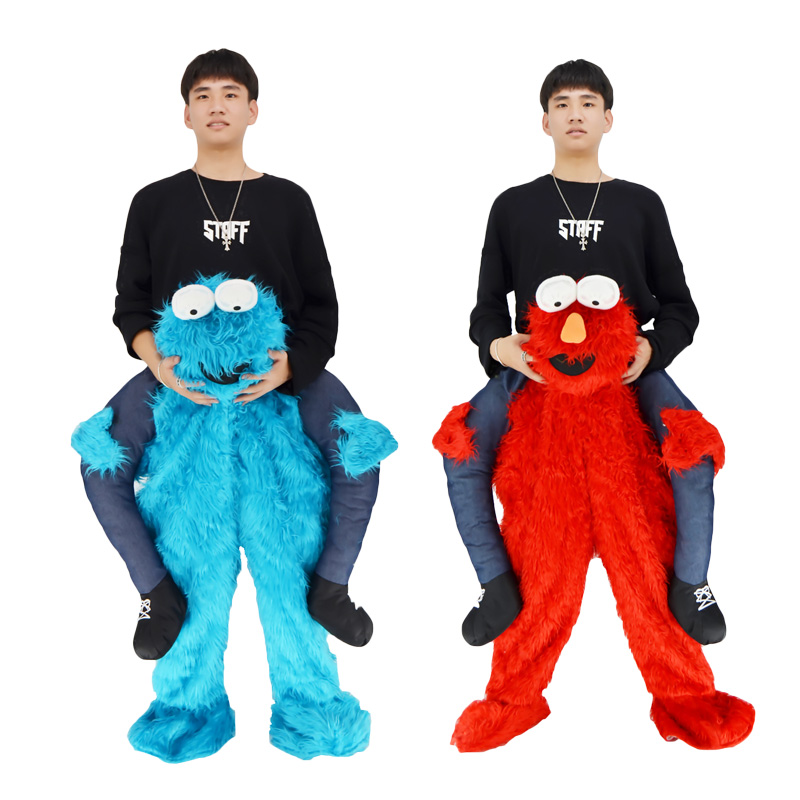 2018 Elmo Stuffed Ride on Me Sesame Street COOKIE MONSTER Mascot Carry Back Fancy Dress Up Pants Costums for Halloween Christmas