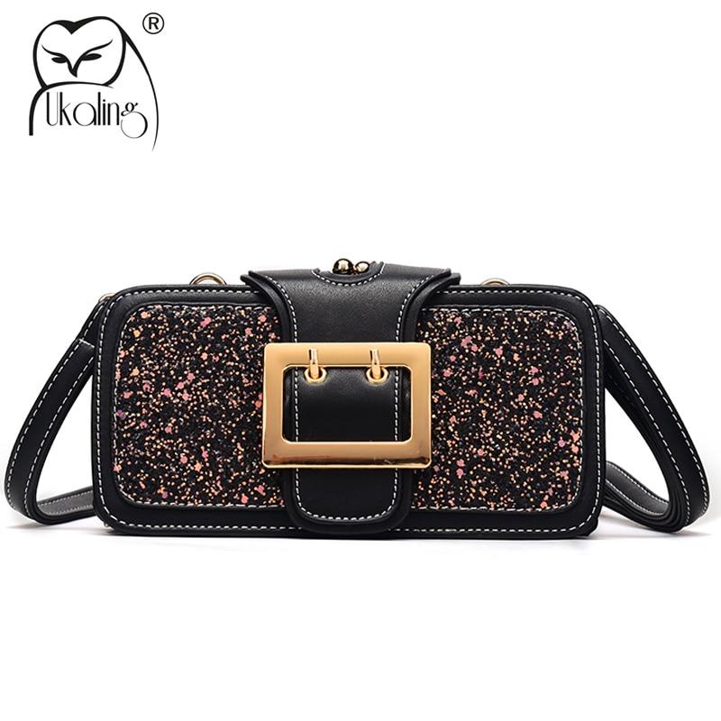 UKQLING Summer Handbag Women Messenger Bags PU Leather Glitter Women Bag Frame Crossbody Bag Ladies Clutch Purse Drop Shipping