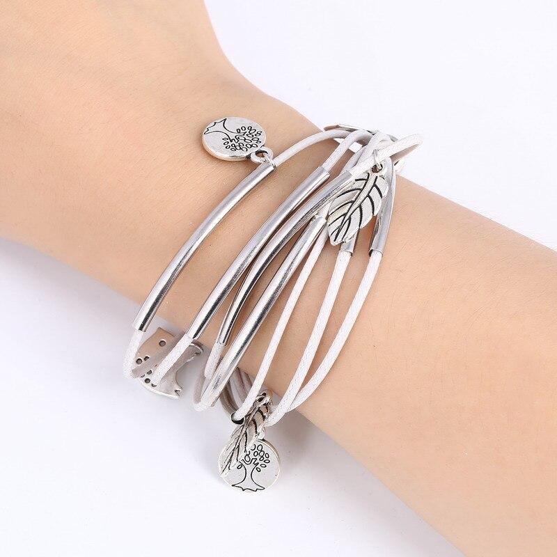 2018 New Hot Jewelry Charm Silver Gold Multilayer Bracelet for Women Leaves Bird Pendant Bracelet Bangle Female Wholesale