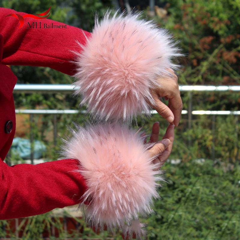 Winter Imitation Fox Fur Cuffs Warm And Comfortable Men And Women Artificial Raccoon Arm Set Large Size Simulation Fur Cuffs