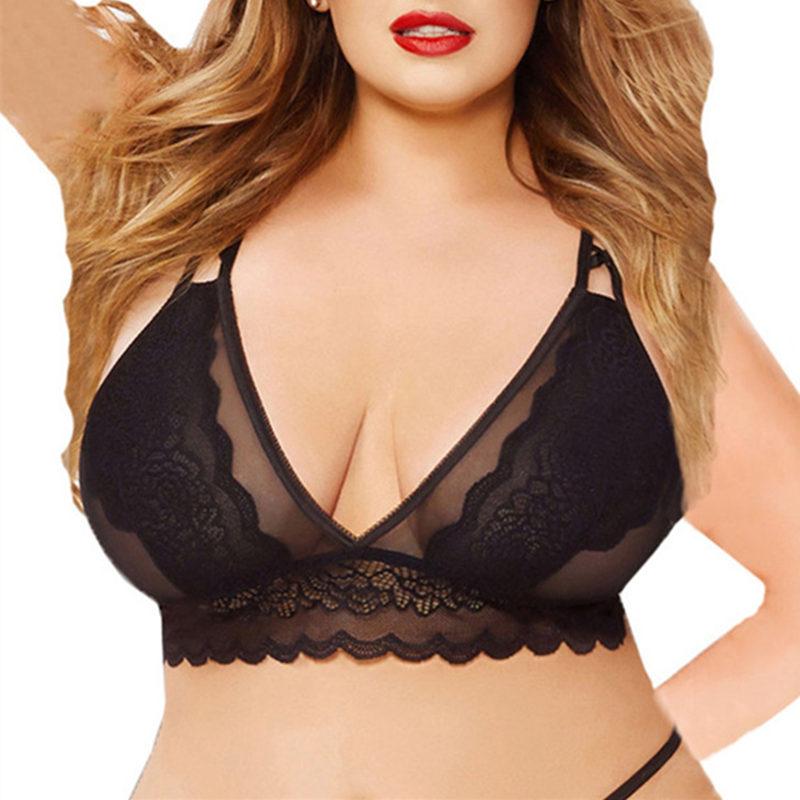 Buy XXXL/4XL/5XL Plus Size Lingerie Sexy Lace Bra Women's Sexy Transparent Underwear Black/Red Rose Lace Floral Seamless Bralette