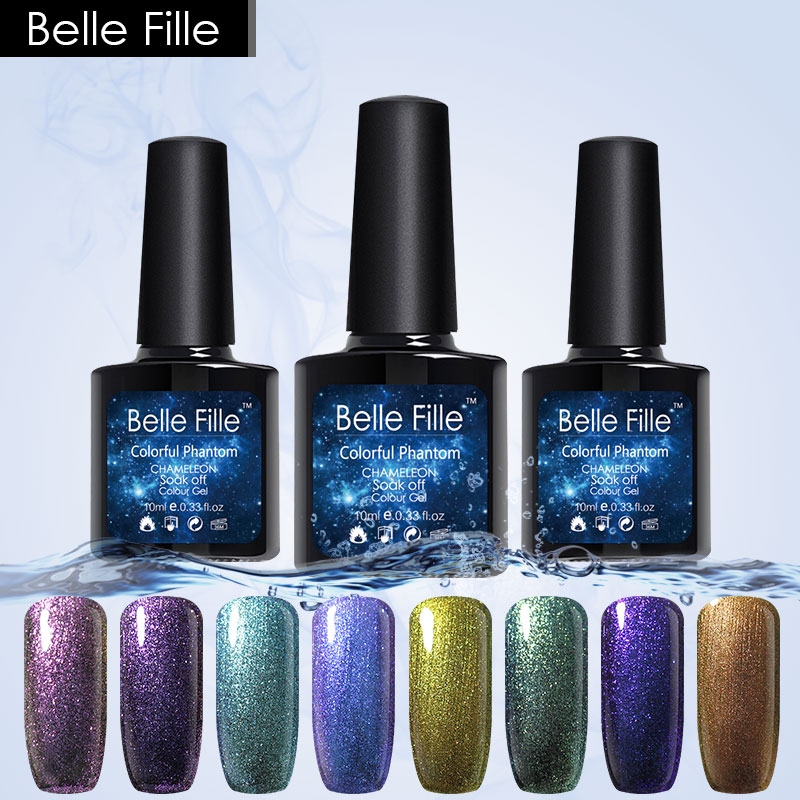 Belle Fille Chameleon Gel Phantom Nail Gel UV LED 3D Glitter Gel Nagellack Manikyr Lack UV Temperatur Kameleon Nail Art