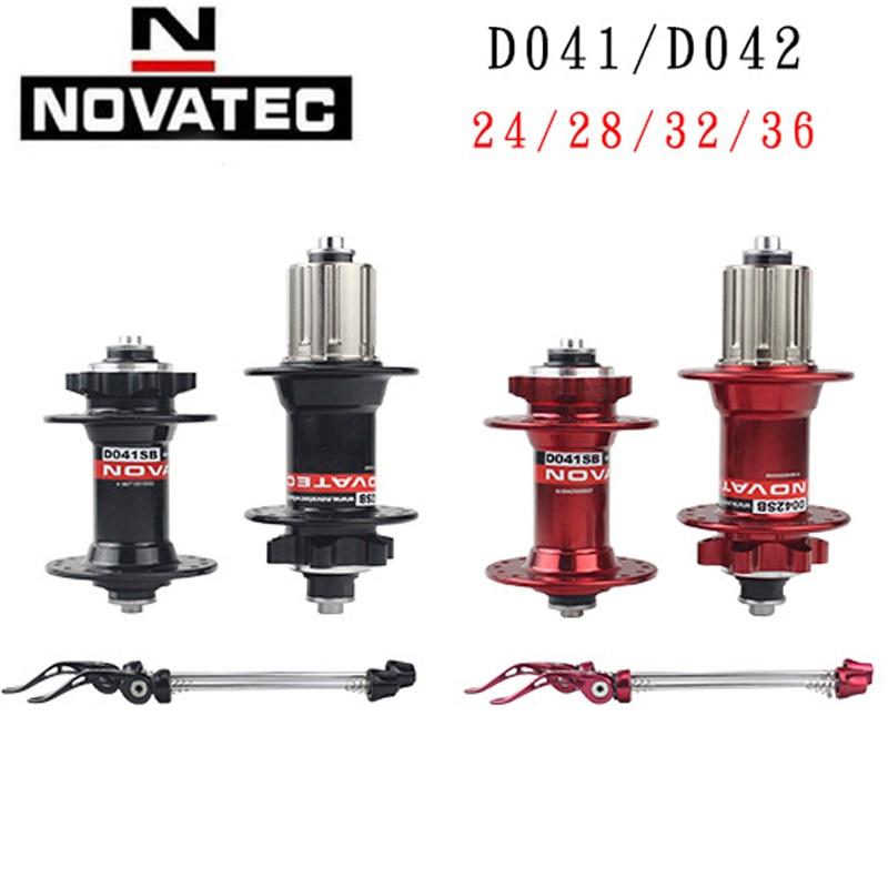 Original a pair Novatec D041SB D042SB Disc Brake Card MTB Mountain Bike Hub Bearing Bike Cubes 28h 32h 36h Holes Red Black