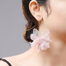 Wuli & baby Pink Gauze Big Flower Dangle Earrings Women Statement Holiday