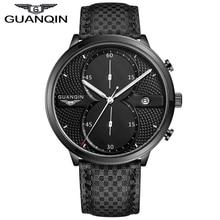 2016 Новая Мода Часы Мужчины Роскошь Лучший Бренд GUANQIN Большой Циферблат Полный Черный Спорт Кварцевые Часы Мужские Наручные Часы С Секундомером