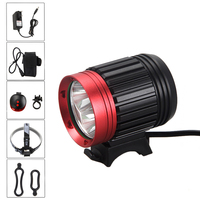 9000 LM 3x XM L T6 LED Light Front Handlebar Bike Headlamp Safety Cycling Torch +6400 mAh Battery +Charger+Red Laser Taillight